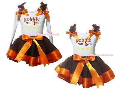 Gobble Till You Wobble White Top Brown Orange Satin Trim Skirt Girl Outfit NB-8Y
