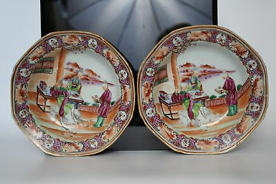 A pair of Chinese famille rose octagonal Mandarin dishes 18thc Qianlong
