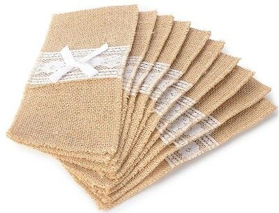 "NEW 10 Pack of 4"" x 8"" Natural Hessian Burlap Silverware Holders with White Lace"