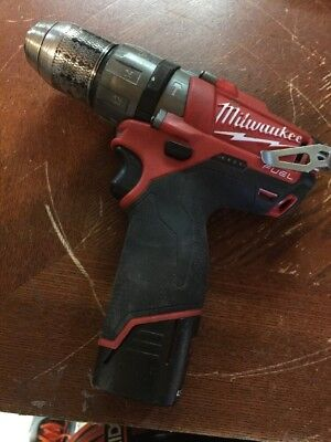 Used 12V Milwaukee 1/2 Hammerdrill, Fuel. Model 2404-20 With Battery