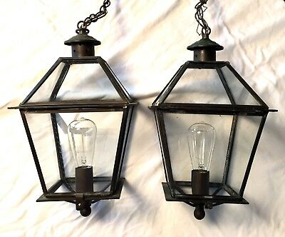 Pair Vintage Hanging Lamp Light Lantern Glass Porch Carriage Heavy Brass