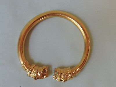 Vintage 1970's MMA Replica Gold Tone Bangle Bracelet Tiger Heads Museum Replica