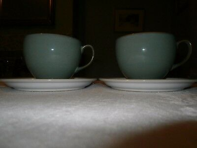 2  Denby Large Breakfast Cups And Saucers - Manor Green