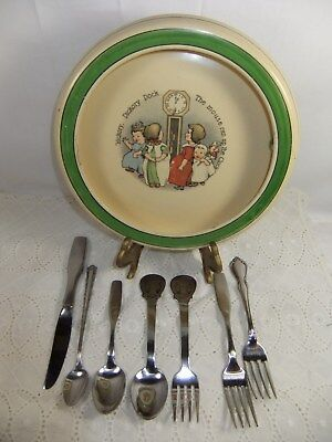 Vintage Hickory Dickory Dock Child's Dish Bowl & Child's Silverware