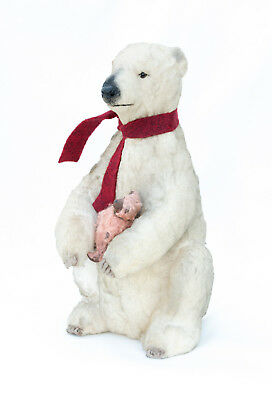 POLAR BEAR Figurine ~ CRAIG YENKE ~ Folk Art ~ Paper Mâché White Bear