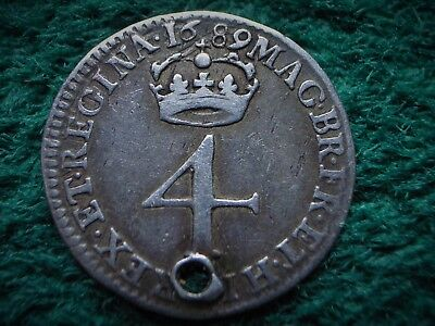 William & Mary , Silver 4d - Fourpence 1689 , ( holed ) ..................... W1