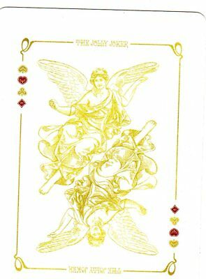 """RARE MINT """"Bicycle Type - Gold Coloured Angels"""" JOKER Playing Card #22"""