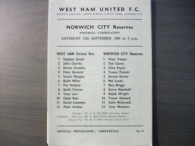 West Ham United Reserves v Norwich City Reserves 1969/70