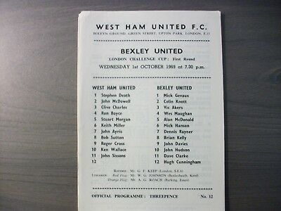 West Ham United v Bexley United London Challenge Cup 1969/70