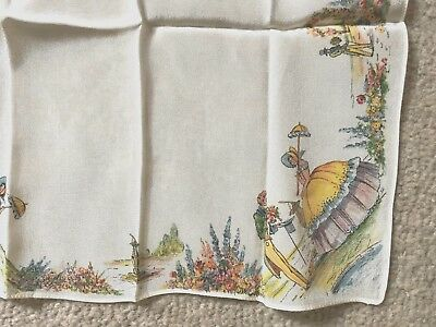 Vintage Crinoline Lady Acetate Handkerchief  Cream Ground