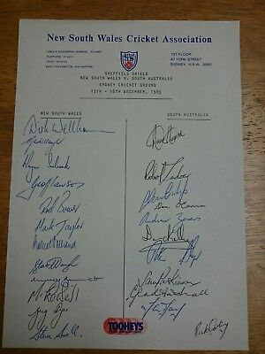 New South Wales & South Australia Cricket Association's Signed Team Sheet 1985