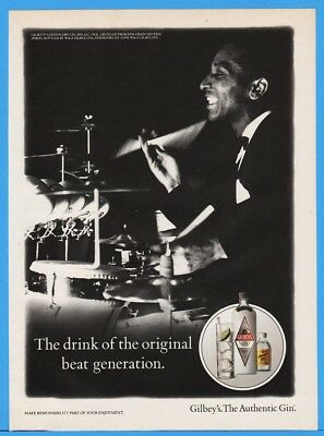 1992 Gilbeys Gin The Drink of The Original Beat Generation Drummer Drum Print Ad