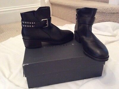 mint velvet black leather biker boots size 3/ euor 36 rrp £149 BNIB