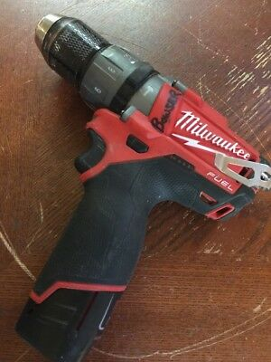 Used 12V Milwaukee 1/2 Hammerdrill, Fuel. Model 2404-20 With Battery (2)