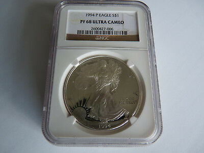 1994-P Proof 1oz Silver Eagle COIN NGC Graded PF68 ULTRA CAMEO