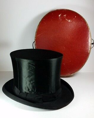 """Vintage Quality French Collapsible Silk Top Hat 21"""" Inside Band Made In Paris"""