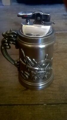 Vintage table lighter stein Nautical Theme with Clipper Ship and Cannon