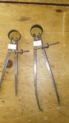 2  VINTAGE  machinist tool compass calipers (MY REF 6-9)