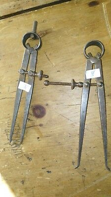 2  VINTAGE  machinist tool compass calipers (MY REF 7-8)