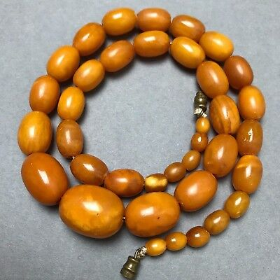 VERY FINE Heavy Antique Dark Butterscotch Egg Yolk Amber Beads Necklace c1920s
