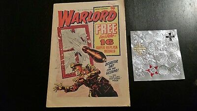 Warlord Comic No2. + Free Gift .16 Replica Medals. 1974
