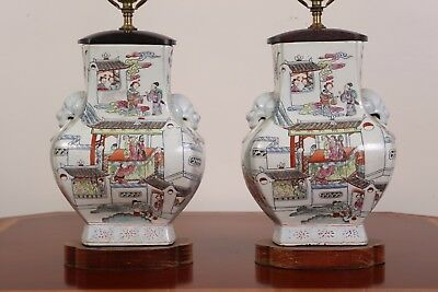 PAIR CHINESE FAMILLE ROSE PORCELAIN VASES MOUNTED AS LAMPS with lion handle 29