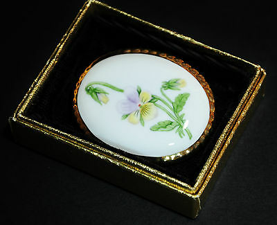 Aynsley England Fine Bone China Pansy & 22K Gold Hand Painted Broach Pin