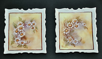 2 X Mini Floral Original Oil Paintings Signed By I.m. Biebrick Alberta Canada
