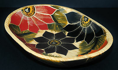 Canadian Hand Crafted & Hand Painted Wood Serving Bowl Made In Canada Hardwood