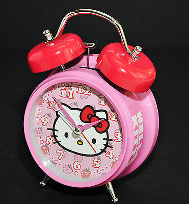 Hello Kitty Vintage Reproduction Twin Bell Alarm Clock 1976 - 2011 Strawberry