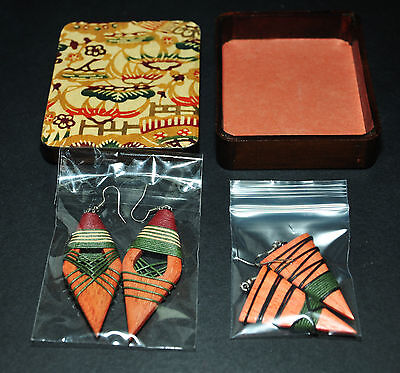 African Tribal Hand Crafted Unique Natural Two Earring Sets & Wooden Gift Case