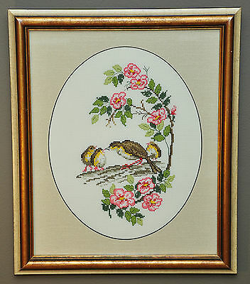 Vintage Petite Point Needlepoint Mother & Baby Birds Pink Apple Blossom Flowers