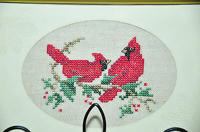 Made In Canada Petite Point Needlepoint Wall Art Pair Of Cardinals Red Birds