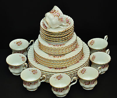 ROYAL ALBERT SPRING SONG 1960'S 4X 5 pc PLACE SETTINGS PINK FLORAL VINTAGE