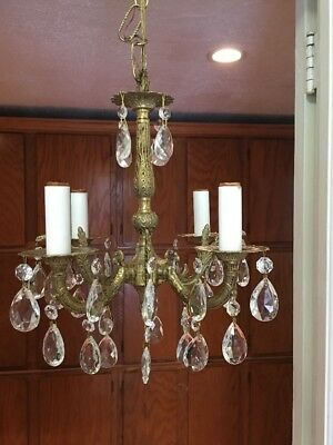 "Vintage Petite French Style Chandelier Brass Crystals 4 Lights Small 13""W"
