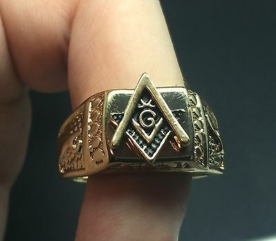 Masonic lodge Gold Signet Ring Square & Compasses Freemason Size R½ 9 16 Grams