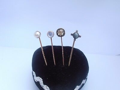Four Nice Good Antique Victorian Gold & Silver Stick Pins