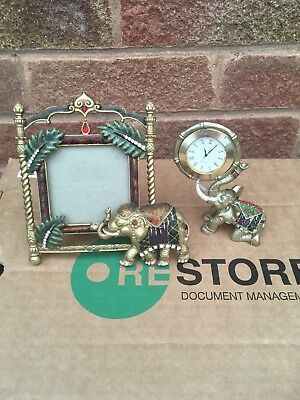 Past Times Photo Frame  And Clock Elephant Combination