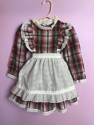 Vintage Girl's Dress White Apron Plaid Elegant Embroidery Holiday