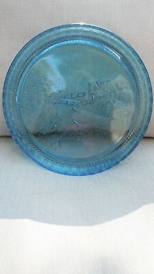 "EAPG - Cooperative Flint Glass Co. ""Basketweave"" tray/pastoral scene"