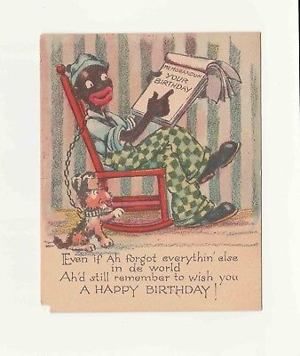 Vintage Early Old Happy Birthday Greeting Card Black Americana Even If Ah Forgot