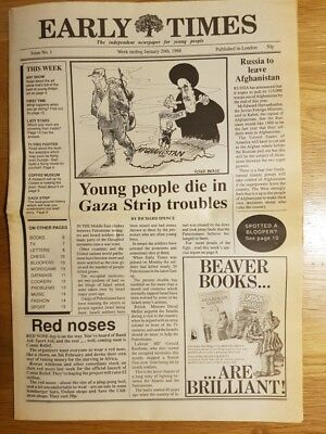 Very Rare Early Times Newspaper Issue No.1 Jan 20th 1988