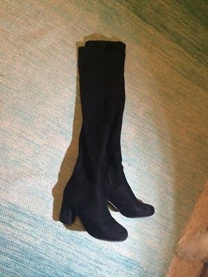 Womens Heeled Used Trashed Worn Suede Black Shoes Boots Size 8