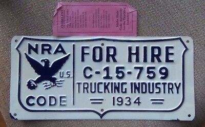 1934 NRA National Recovery Act Truck Depression License Plate Roosevelt Era W/P