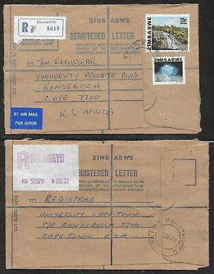 ZIMBABWE - TWO REGISTERED COVERS - BULAWAYO TO SOUTH AFRICA 1980's