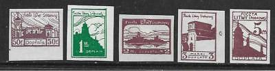 CENTRAL LITHUANIA - 1921 Postage Dues - Short Set of 5 to 5m.,