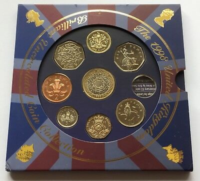 1998 Royal Mint Brilliant Uncirculated Coin Set Inc RARE One Pound Piece £1