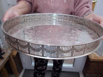 Nice Quality Circular Silver Plated Tray Ornate Gallery In Good Condition