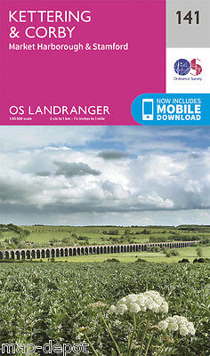 KETTERING & CORBY LANDRANGER MAP 141 - Ordnance Survey - OS - NEW 2016