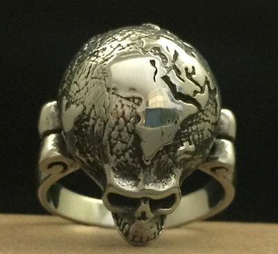 The Grateful Dead Ring Globe Skull Stainless Steel Silver Steal Your Face Garcia
